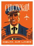 Cincinnati, Ohio - Delta Air Lines - Riverboat Captain Prints