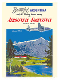Beautiful Argentina - Aerolineas Argentinas (Argentina Airlines) - Luxurious Douglas DC-6s Prints by Adolph Treidler