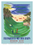 Durch Frankreich mit der Bahn (Discover France by Train) - The Basque Coast - French Railways Print by Bernard Villemot