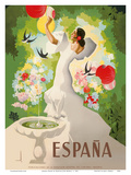 Espana (Spain) - Dancer with Fountain and Birds Posters by Marcias Jose Morell