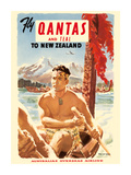 Fly Qantas and TEAL to New Zealand - Qantas Empire Airways (QEA) - Australia's Overseas Airline - M Giclee-tryk i høj kvalitet af Pacifica Island Art