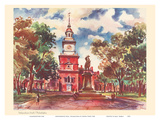 Independence Hall, Philadelphia - United Air Lines Calendar Page Prints by Joseph Fehér