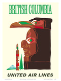 British Columbia - Northwest Indian Totem Pole Print by  Pacifica Island Art