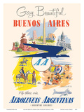 Gay and Beautiful - Buenos Aires, Argentina - Argentine Airlines Prints by Adolph Treidler