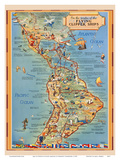 Pictorial Map of North & South America - Flying Clipper Ships Routes - Pan American World Airways Arte por Kenneth Thompson