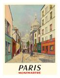 Paris, France - Butte Montmartre - Basilica of the Sacré-Cœur - Rue du Chevalier de la Barre Wydruk giclee autor Maurice Utrillo