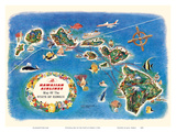 Pictorial Map of the State of Hawaii - Hawaiian Airlines Route Map Art by  Pacifica Island Art