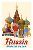 Russia - Pan American World Airways - Saint Basil's Cathedral, Moscow - Onion Domes Plakat av  Pacifica Island Art