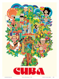 Cuba - Colorful Pictorial of Various Types of Cuban People Posters by Yanes Mayan
