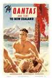 Fly Qantas and TEAL to New Zealand - Qantas Empire Airways (QEA) - Australia's Overseas Airline - M Posters af Pacifica Island Art