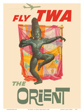 The Orient - Fly TWA (Trans World Airlines) - Bronze-era Siam Thai Dancer Poster by David Klein