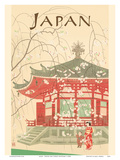 Japan - Shrine and Cherry Blossoms Posters by  Pacifica Island Art