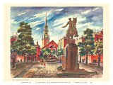 Old North Church - Boston, Massachusetts - United Airlines Calendar Page Poster by Joseph Fehér