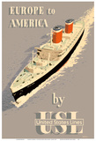 Europe to America - by United States Lines - S.S. United States Ocean Liner Prints by John S. Smith