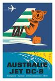 Australia (Australie) - TAI (Transports Aérien Internationaux) - Douglas Jet DC-8 - Koala Bear Giclée-tryk af  Seguin