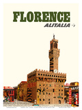 Florence, Italy - Alitalia Airlines - Palazzo Vecchio (The Old Palace) Prints by  Pacifica Island Art