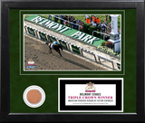 Victor Espinoza 2015 Belmont Stakes Winning Overhead Shot with Dirt Framed Memorabilia