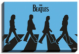 The Beatles - Abbey Road Silhouettes Stretched Canvas Print