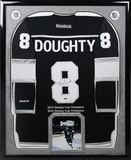 Drew Doughty Signed Los Angeles Kings Black Jersey with Stanley Cup Titles Embroidery and Cup Photo Framed Memorabilia