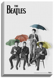 The Beatles - Black and White with Color Umbrellas Stretched Canvas Print
