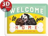 Welcome Puppies Tin Sign