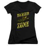 Juniors: Archer- Flying In The Danger Zone V-Neck T-shirts