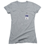 Juniors: X Files- Mulder Agency Badge V-Neck Womens V-Necks