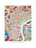 Philadelphia Pennsylvania Street Map Prints by Michael Tompsett