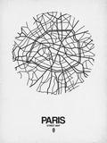 Paris Street Map White Print by  NaxArt