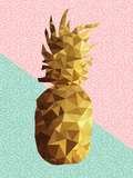 Gold Low Poly Pineapple Design with Retro Shapes Prints by  cienpies