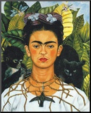 Portrait with Necklace Mounted Print by Frida Kahlo