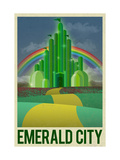 Emerald City Retro Travel Poster Arte