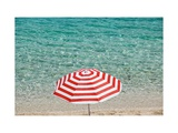 Close up of Striped Beach Umbrella near Sea, San Vito Lo Capo, Sicily, Italy Posters by Massimo Borchi
