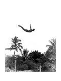 1940s Man Poised Midair Arms Out Jumping from Diving Board into Pool Print
