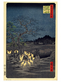 Foxes Meeting at Oji Print by Utagawa Hiroshige