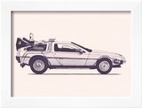 Delorean Back To The Future Poster by Florent Bodart