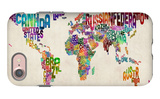 Typographic Text World Map iPhone 7 Case by Michael Tompsett