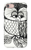 Retro Black and White Owl with Ladybug iPhone 7 Case