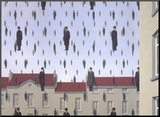 Golconde Mounted Print by Rene Magritte