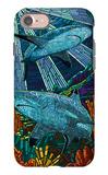 Black Tip Reef Shark - Paper Mosaic iPhone 7 Case by  Lantern Press