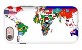 Map Of World With Flags In Relevant Countries, Isolated On White Background iPhone 7 Case by  Speedfighter