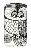 Retro Black and White Owl with Ladybug iPhone 7 Plus Case