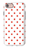 Red Polk-a-dots iPhone 7 Case by  Avalisa