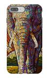 Elephant - Paper Mosaic iPhone 7 Plus Case by  Lantern Press