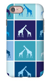 Blue Giraffe Squares iPhone 7 Case by  Avalisa