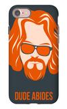 Dude Abides Orange Poster iPhone 7 Case by Anna Malkin