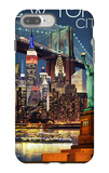 New York City, NY - Skyline at Night iPhone 7 Plus Case by  Lantern Press