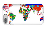 Map Of World With Flags In Relevant Countries, Isolated On White Background iPhone 7 Plus Case by  Speedfighter