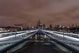 Millenium Bridge, Night Photography, St. Paul's Cathedral, the Thames, London Photographic Print by Axel Schmies