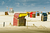Germany, Schleswig-Holstein, Amrum, Sandy Beach, Sand Bank, Kniepsand, Beach Chairs Photographic Print by Ingo Boelter
